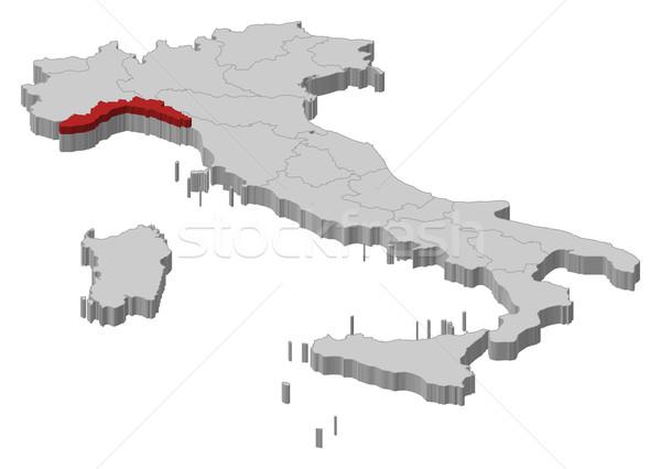 Map of Italy, Liguria highlighted Stock photo © Schwabenblitz