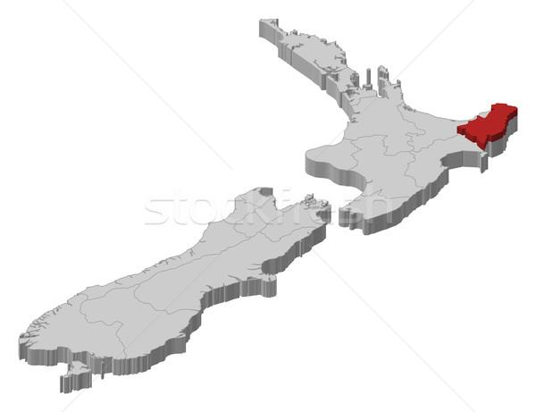 ストックフォト: 地図 · ニュージーランド · 政治的 · いくつかの · 地域 · 抽象的な