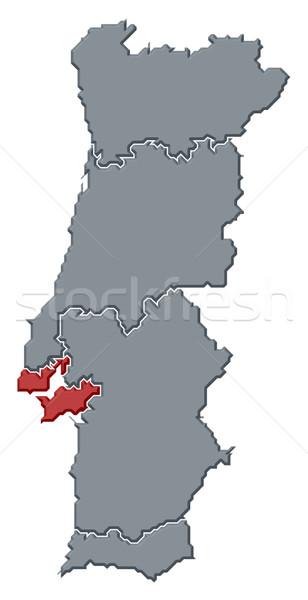 Map of Portugal, Lisboa Region highlighted Stock photo © Schwabenblitz