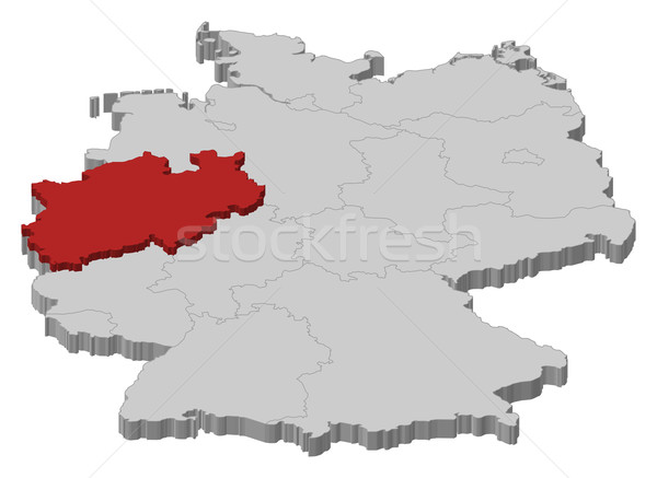 Map of Germany, North Rhine-Westphalia highlighted Stock photo © Schwabenblitz