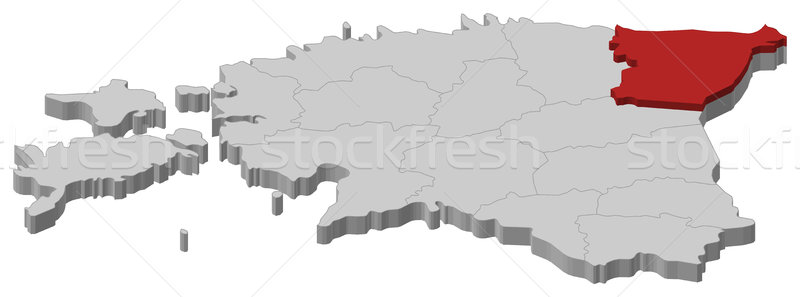 Map of Estonia, Ida-Viru highlighted Stock photo © Schwabenblitz