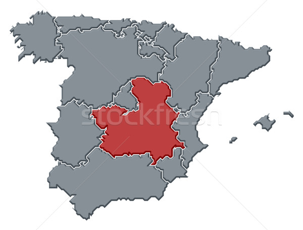 Map of Spain, Castile-La Mancha highlighted Stock photo © Schwabenblitz