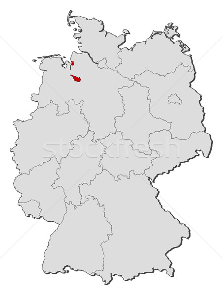 Map of Germany, Bremen highlighted Stock photo © Schwabenblitz
