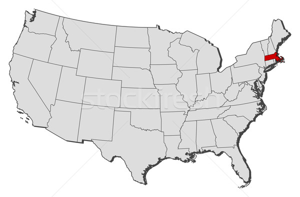 Map of the United States Massachusetts highlighted vector