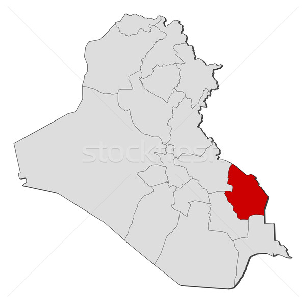 Map of Iraq, Maysan highlighted Stock photo © Schwabenblitz