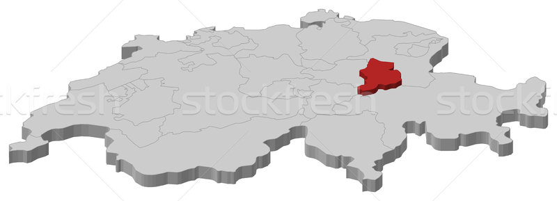 Map of Swizerland, Glarus highlighted Stock photo © Schwabenblitz