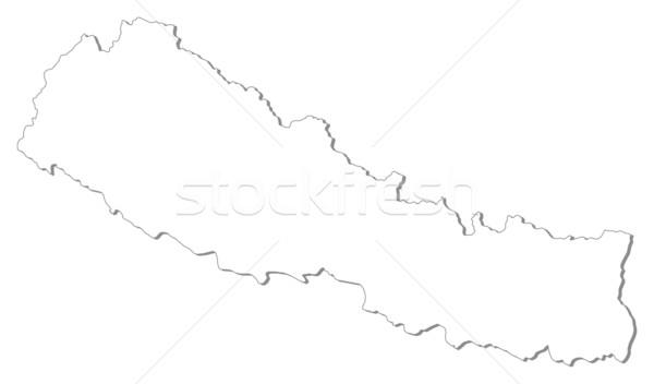 Harita Nepal siyasi birkaç soyut toprak Stok fotoğraf © Schwabenblitz