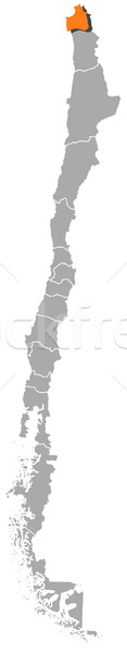 Stock photo: Map of Chile, Arica and Parinacota Region highlighted
