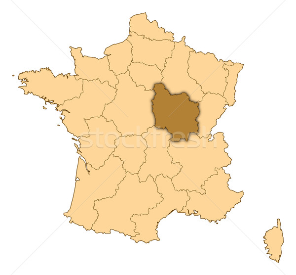Map of France, Burgundy highlighted Stock photo © Schwabenblitz