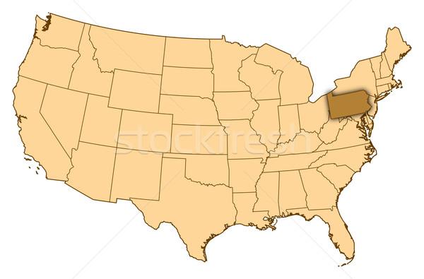 Térkép Egyesült Államok Pennsylvania absztrakt háttér kommunikáció Stock fotó © Schwabenblitz
