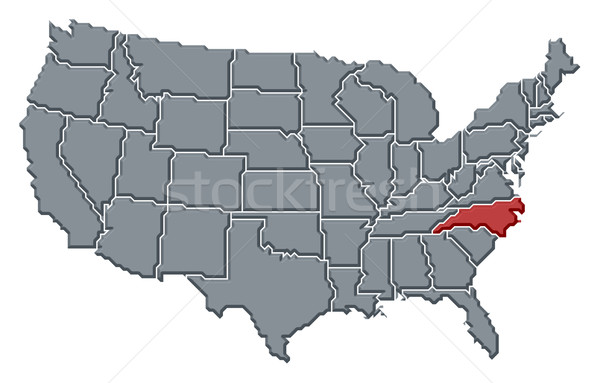 Map of the United States, North Carolina highlighted Stock photo © Schwabenblitz