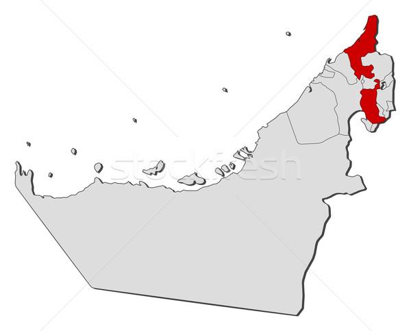 Foto stock: Mapa · Emirados · Árabes · Unidos · político · vários · abstrato · terra