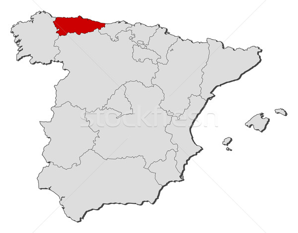 Map of Spain Asturias highlighted vector illustration Steffen
