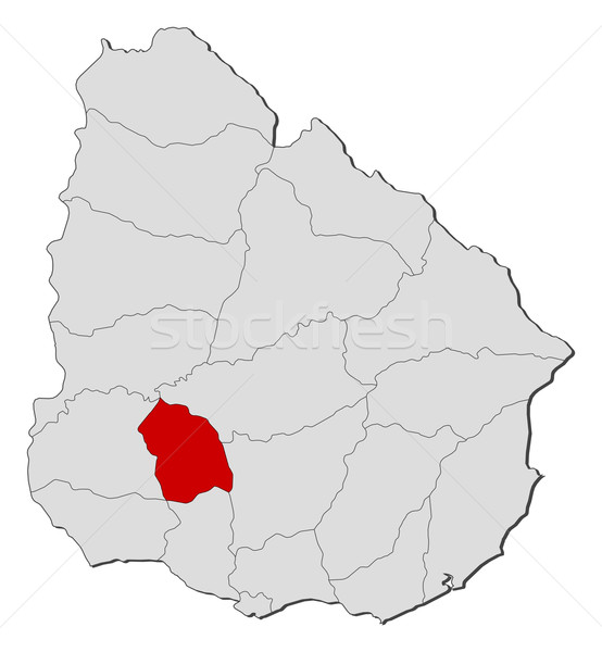 Map of Uruguay, Flores highlighted Stock photo © Schwabenblitz