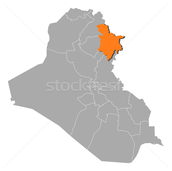 Map of Iraq, Sulaymaniyah highlighted Stock photo © Schwabenblitz