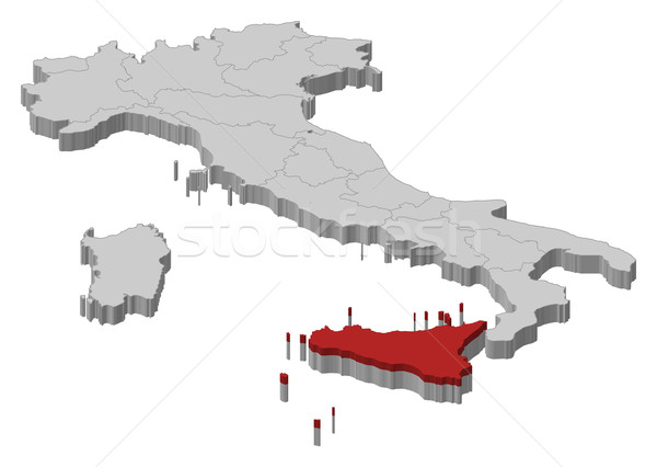 Map of Italy, Secely highlighted Stock photo © Schwabenblitz