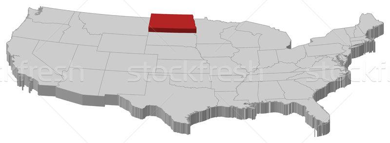 Map of the United States, North Dakota highlighted Stock photo © Schwabenblitz