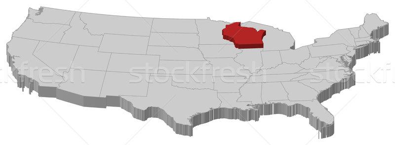 Harita Amerika Birleşik Devletleri Wisconsin siyasi birkaç soyut Stok fotoğraf © Schwabenblitz