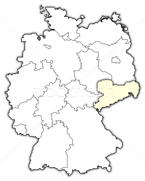 Stock photo: Map of Germany, Saxony highlighted