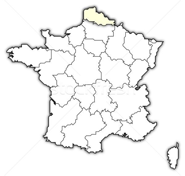 Map of France, Nord-Pas-de-Calais highlighted stock photo © Sergej Calais France Map on
