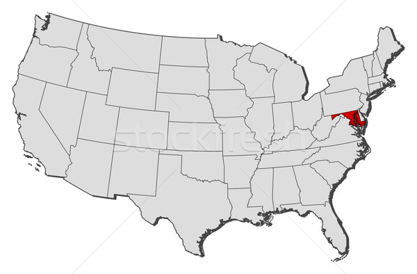 Map of the United States Maryland highlighted vector illustration