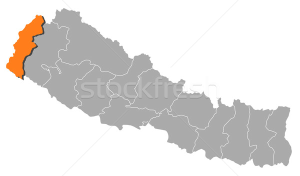 Map of Nepal, Mahakali highlighted Stock photo © Schwabenblitz