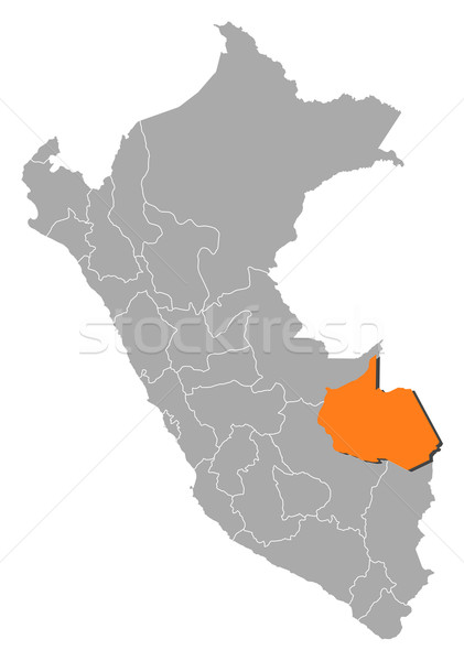 Map of Peru, Madre de Dios highlighted Stock photo © Schwabenblitz