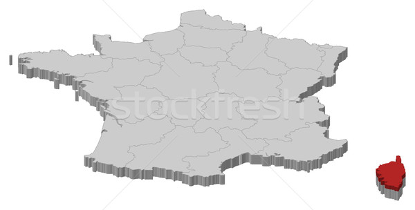 Térkép Franciaország Korzika politikai néhány régiók Stock fotó © Schwabenblitz