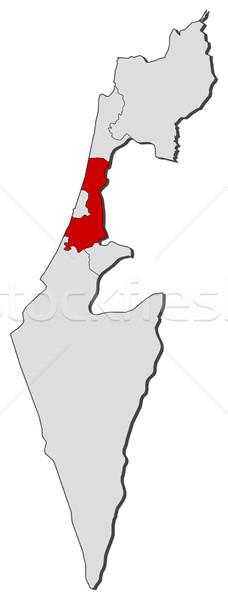 地図 イスラエル セントラル 地区 政治的 いくつかの ストックフォト © Schwabenblitz