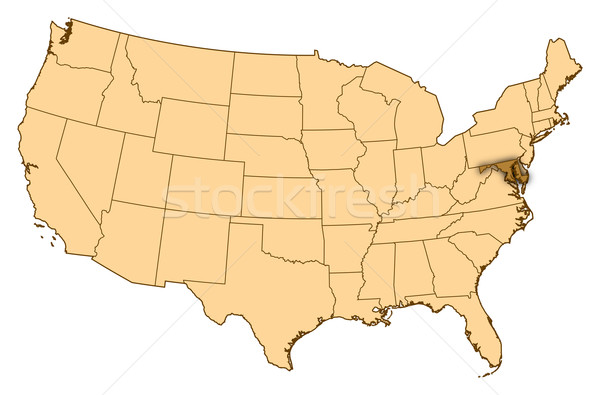 Map of United States, Maryland highlighted Stock photo © Schwabenblitz