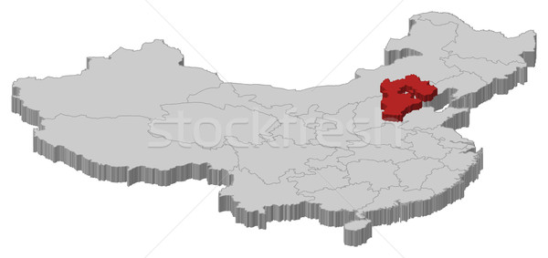 Map of China, Hebei highlighted Stock photo © Schwabenblitz