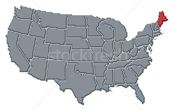 Foto stock: Mapa · Estados · Unidos · Maine · político · vários · abstrato