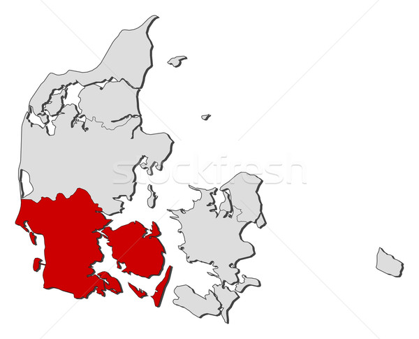 Mapa sul Dinamarca político vários regiões Foto stock © Schwabenblitz
