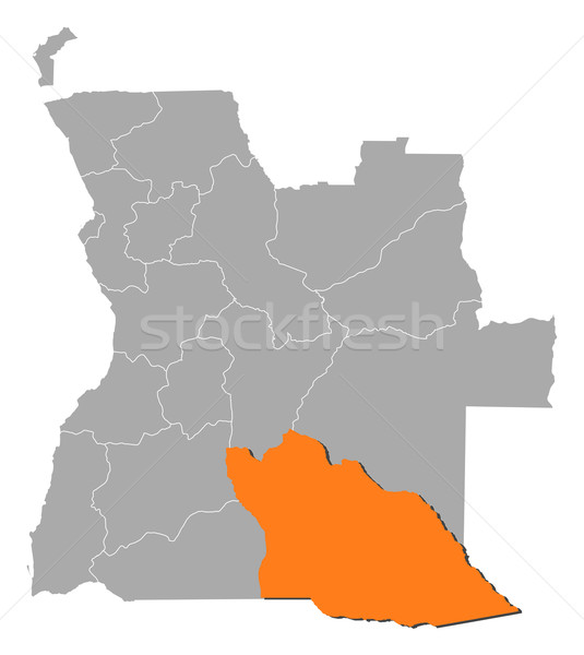 Map of Angola, Cuando Cubango highlighted Stock photo © Schwabenblitz