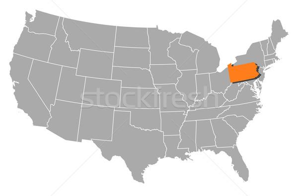 Mapa Estados Unidos Pensilvânia político vários abstrato Foto stock © Schwabenblitz
