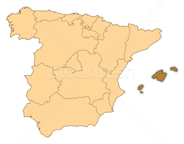 Map of Spain, Balearic Islands highlighted Stock photo © Schwabenblitz
