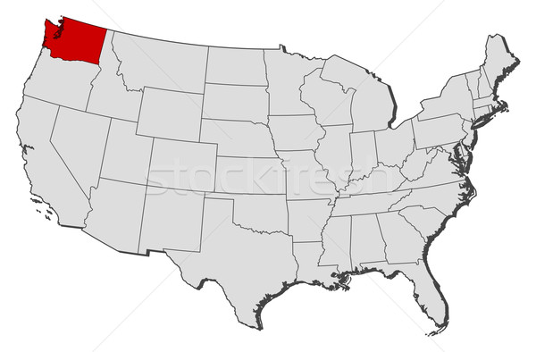 Map Of The United States Washington Highlighted Vector - Washington on the us map