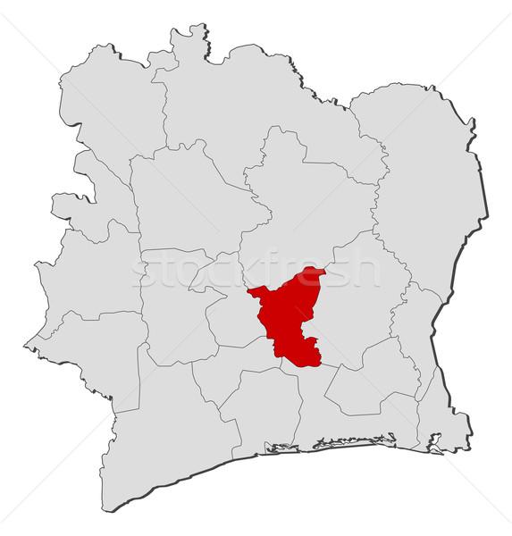 Pokaż Wybrzeże Kości Słoniowej polityczny kilka regiony świecie Zdjęcia stock © Schwabenblitz