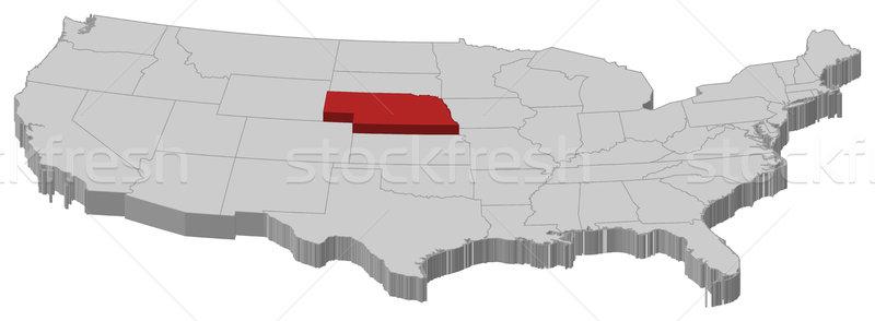 Harita Amerika Birleşik Devletleri Nebraska siyasi birkaç soyut Stok fotoğraf © Schwabenblitz