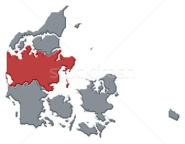 Kaart centraal Denemarken politiek verscheidene regio Stockfoto © Schwabenblitz