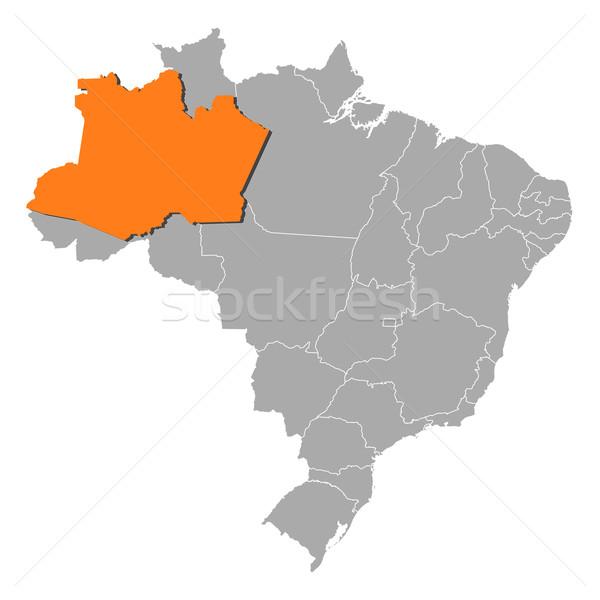 Map of Brazil, Amazonas highlighted Stock photo © Schwabenblitz