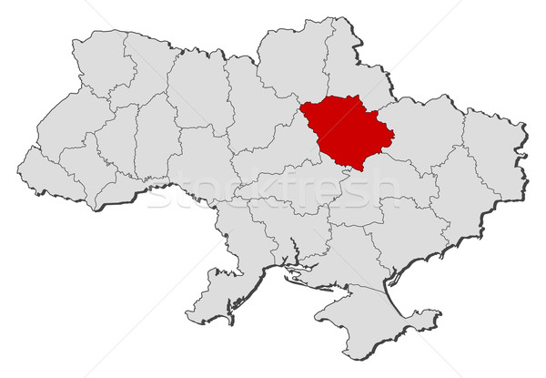 Map of Ukraine, Poltava highlighted Stock photo © Schwabenblitz