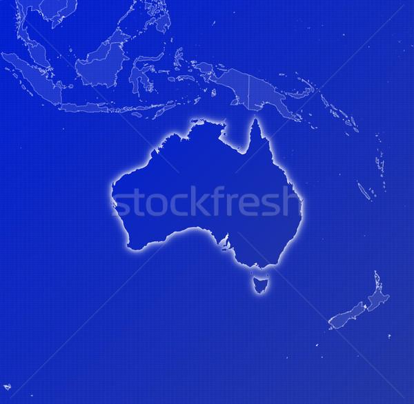 Foto stock: Mapa · Australia · político · resumen · azul
