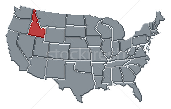 Map of the United States, Idaho highlighted Stock photo © Schwabenblitz