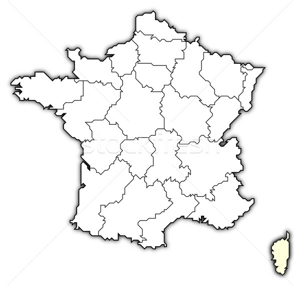 Map Of France And Corsica.Map Of France Corsica Highlighted Stock Photo C Steffen Hammer