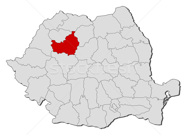 Map of Romania, Cluj highlighted Stock photo © Schwabenblitz