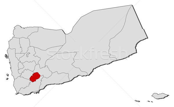 Map of Yemen, Ad Dali' highlighted Stock photo © Schwabenblitz