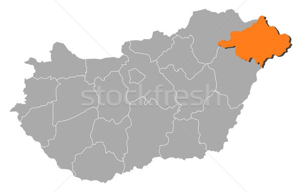 Map of Hungary, Szabolcs-Szatm Stock photo © Schwabenblitz