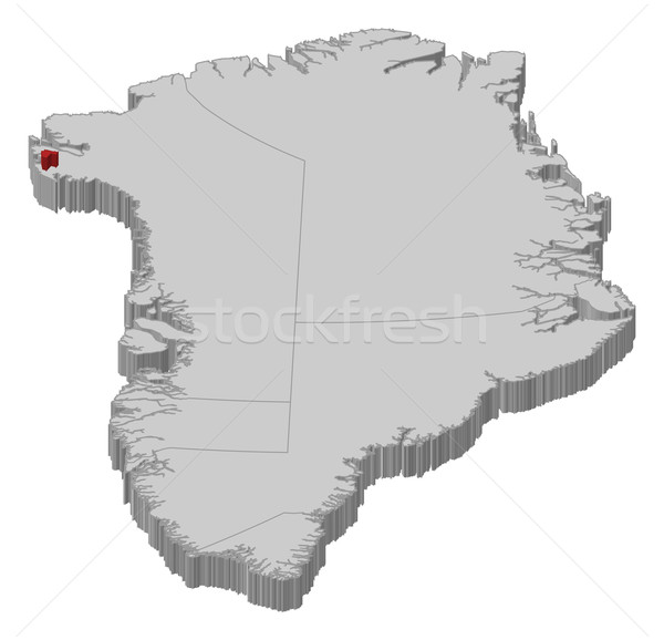 Map of Greenland, Thule Air Base highlighted Stock photo © Schwabenblitz