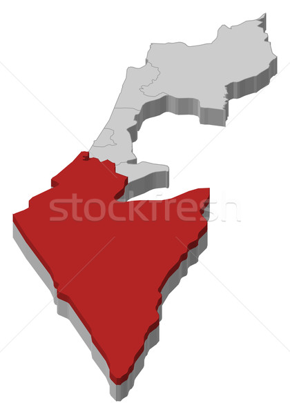 Map of Israel, Southern District highlighted Stock photo © Schwabenblitz